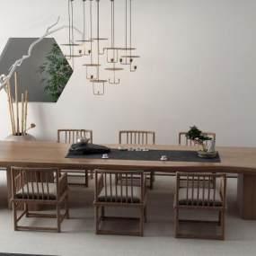 新中式茶桌3D模型【ID:849509909】