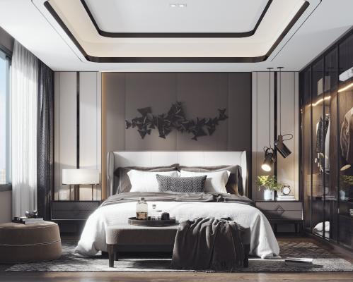 现代轻奢卧室3D模型【ID:542417277】
