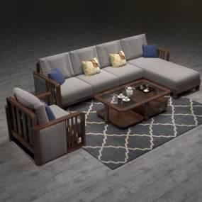 新中式组合沙发3D模型【ID:634919777】
