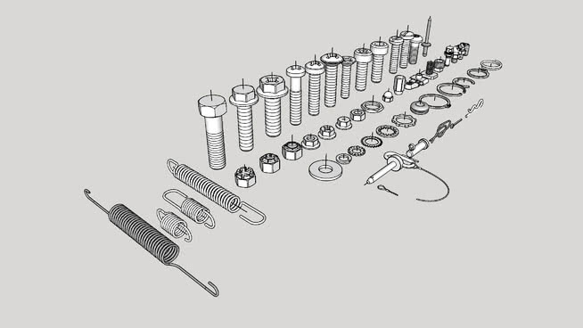 螺母,螺栓,垫圈…SU模型【ID:940511207】