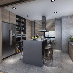 现代厨房3D模型【ID:528014039】