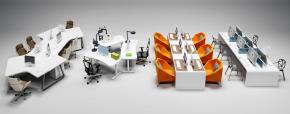 现代办公桌椅组合3D模型【ID:627805624】