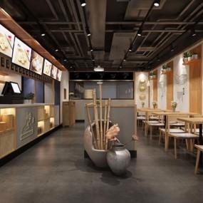 新中式餐厅3D模型【ID:528029564】