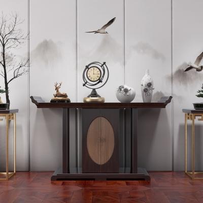 中式端景条案雕塑花瓶时钟花架盆景挂件墙饰组合3D模型【ID:927839150】