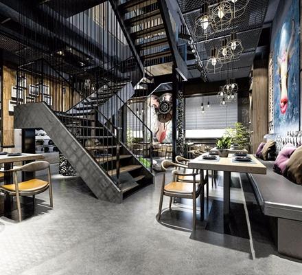 loft工业风餐厅3D模型【ID:728034915】