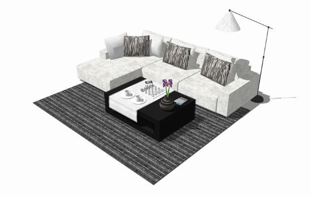 现代沙发茶几组合SU模型【ID:747857691】