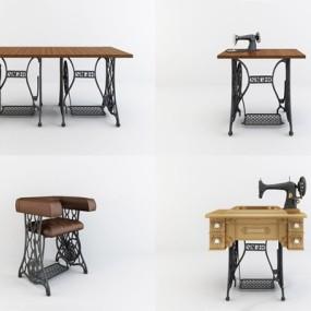 工业风缝纫机桌椅3D模型【ID:728104695】