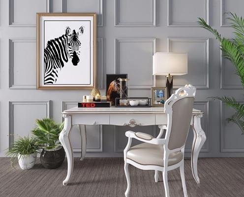 歐式書桌椅組合3D模型【ID:328245750】