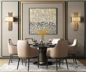 后現代餐桌椅餐具組合3D模型【ID:327786446】
