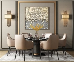 后现代餐桌椅餐具组合3D模型【ID:327786446】