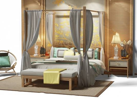 中式双人床3D模型【ID:719438033】