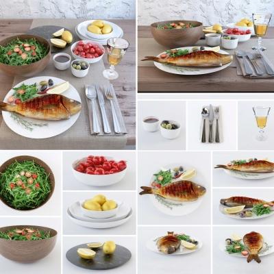 现代餐具菜肴沙拉水果酒水摆件3D模型【ID:227782966】