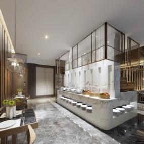 新中式自助餐厅3D模型【ID:328437597】