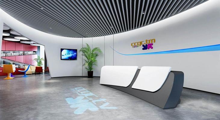 现代办公前台接待休息区3D模型【ID:728102737】