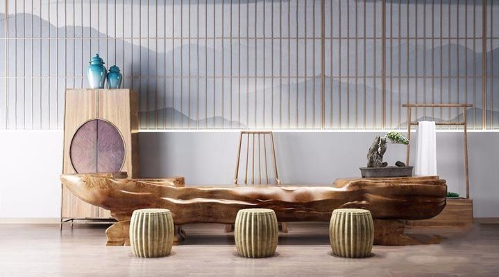 新中式茶桌椅3D模型【ID:628048028】