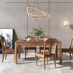 现代实木餐桌椅3d模型【ID:843426893】