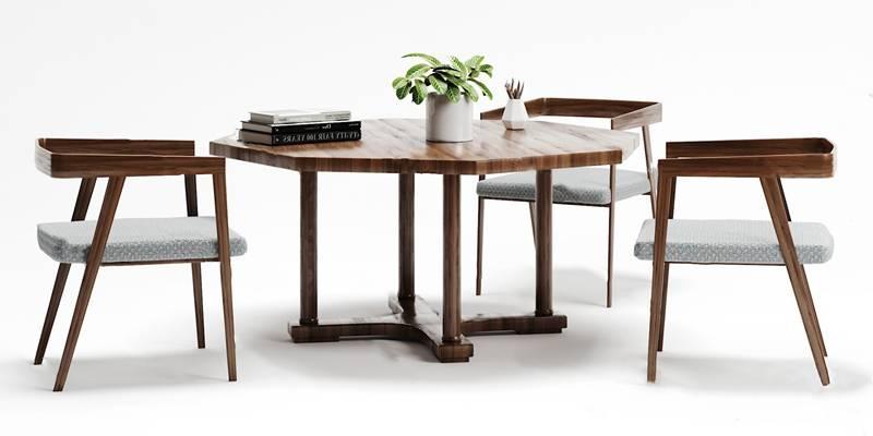 现代休闲桌椅组合3D模型【ID:324897550】
