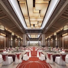 新中式宴会厅3D模型【ID:428009411】