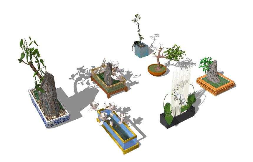 庭院盆栽组合SU模型【ID:137115994】