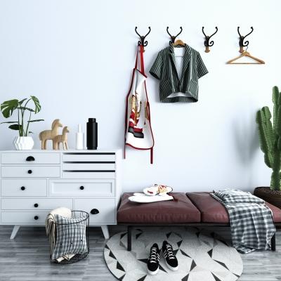 北欧鞋柜沙发凳服饰摆件组合3D模型【ID:927833386】
