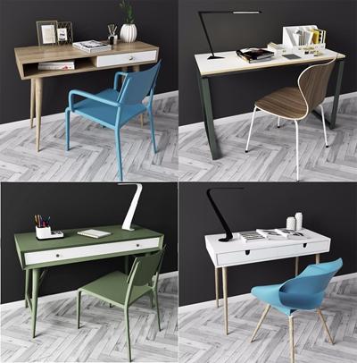 现代北欧书桌椅子组合3D模型【ID:327922703】