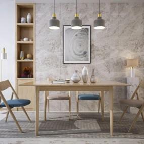 北欧餐桌椅组合3d模型【ID:328244695】