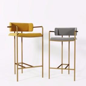 现代金属吧台椅组合3D模型【ID:327790142】