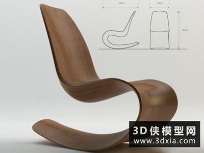現代休閑搖椅國外3D模型【ID:729478831】