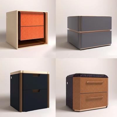 现代轻奢床头柜组合3D模型【ID:928338629】