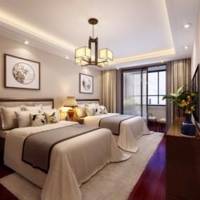 新中式酒店客房双人房3D模型【ID:428443670】
