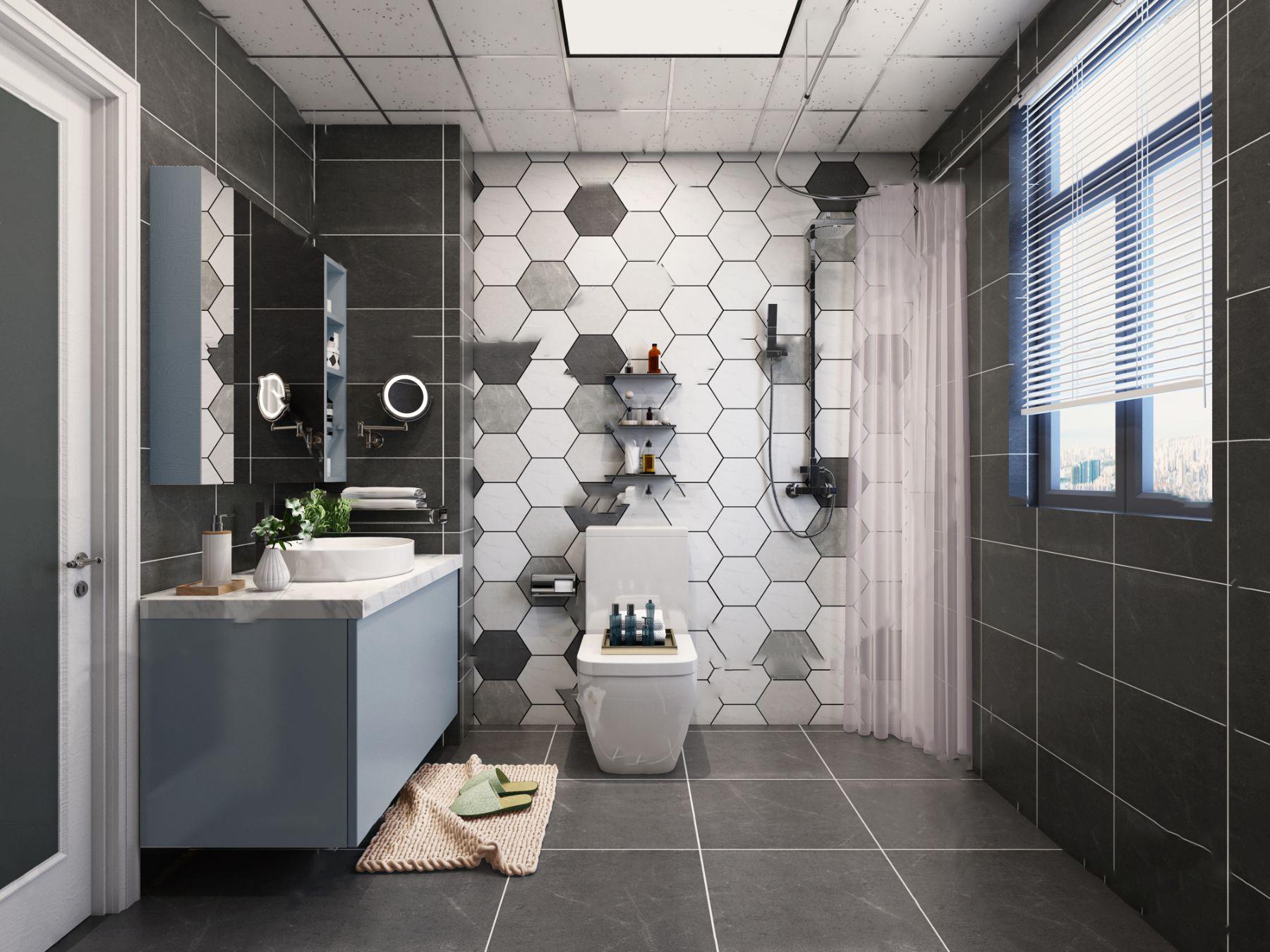 現代衛生間浴室3D模型【ID:543348512】