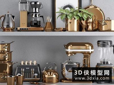 廚房用品組合國外3D模型【ID:129363391】