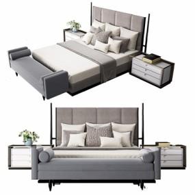 新中式床具3D模型【ID:728115098】