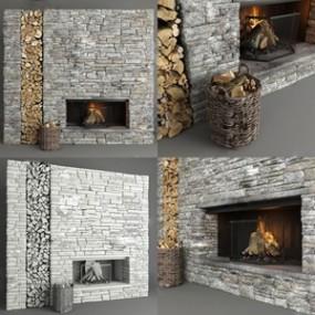 工业风石墙壁炉木材柴火组合3D模型【ID:831407102】
