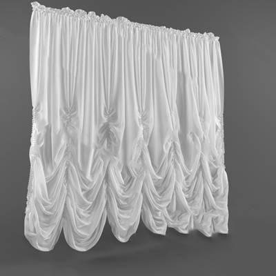 欧式窗帘3D模型下载【ID:319500824】