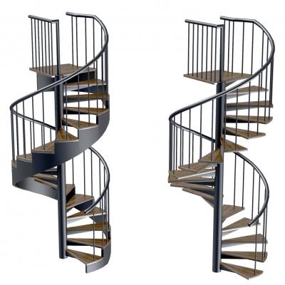 現代旋轉樓梯組合3D模型【ID:828473592】
