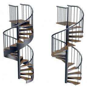 现代旋转楼梯组合3D模型【ID:828473592】