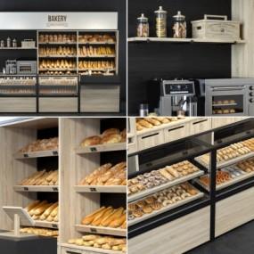现代实木面包保鲜展示柜3D模型【ID:928558210】