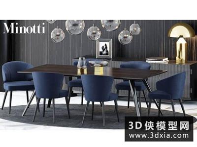 現代餐桌椅组合国外3D模型【ID:729358776】