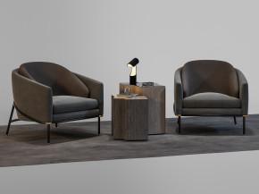 现代单人沙发角几摆件组合3D模型【ID:127750291】