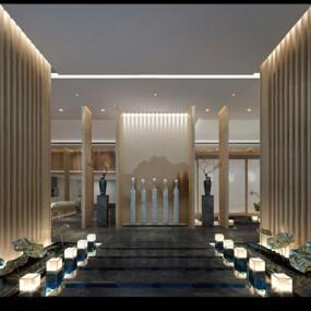 新中式门厅3D模型【ID:427971252】
