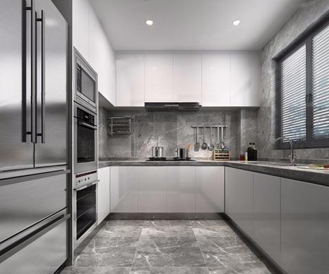 现代厨房3D模型【ID:528275068】