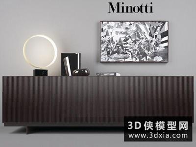 現代木質電視柜子組合國外3D模型【ID:829387045】