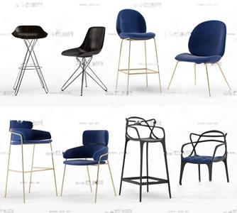 现代轻奢吧椅椅子组合3D模型【ID:331399115】