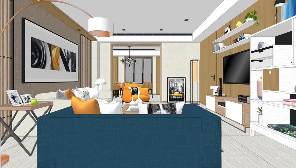 現代輕奢客廳餐廳室內設計SU模型【ID:937117812】