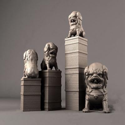中式石狮子3D模型【ID:334114105】