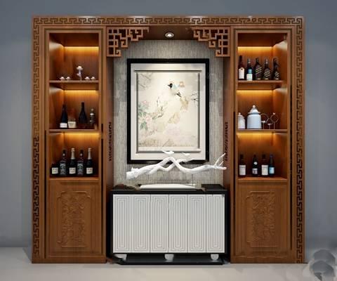 中式酒柜3D模型下载【ID:919429089】