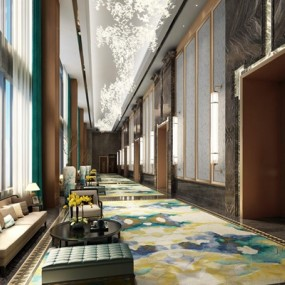 新中式酒店走廊3D模型【ID:428266853】