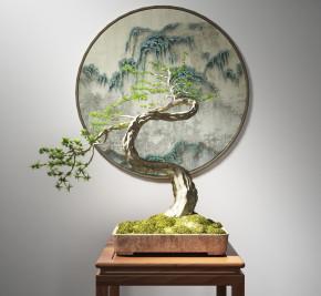 新中式植物盆栽3D模型【ID:327786803】