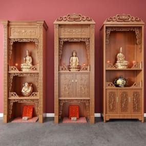 中式实木佛龛神龛3d模型【ID:947289989】